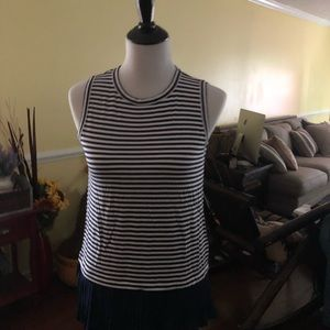 Micheal Kors NWT Navy Blue Striped sleeveless top